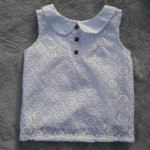 Oshkosh white sleeveless callard top